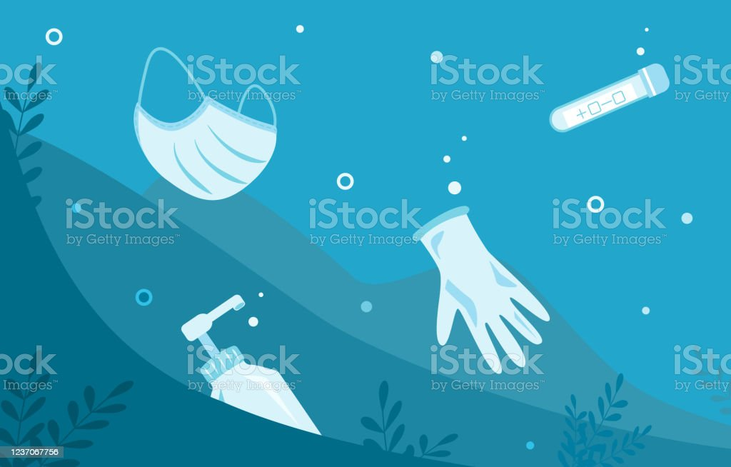 Mask Sanitizer Test Tube And Glove In Ocean Sea Underwater Debris After Pandemic Covid19 Consequence Of Overconsumption Problem Of Water Pollution Vector Flat Illustration Ecological Banner Stock Illustration Download Image Now