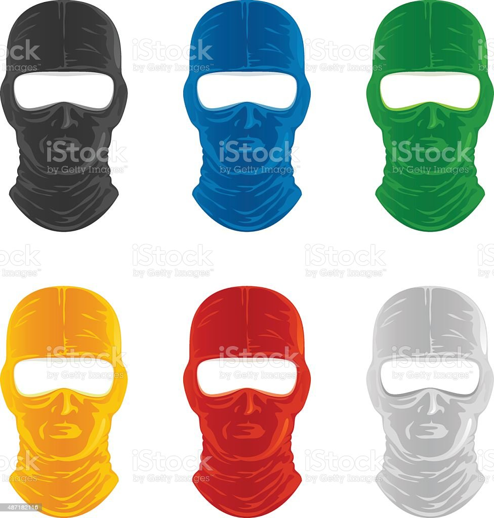 Mask set vector art illustration