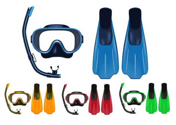 스노클링, 무료 다이빙 및 스쿠버 다이빙 활동을 위한 다양 한 색상의 마스크, 스노 클 및 핀 3d 현실적인 세트 - 스노클 stock illustrations