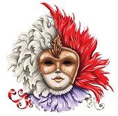 Vector illustration of a Venetian carnival masks.