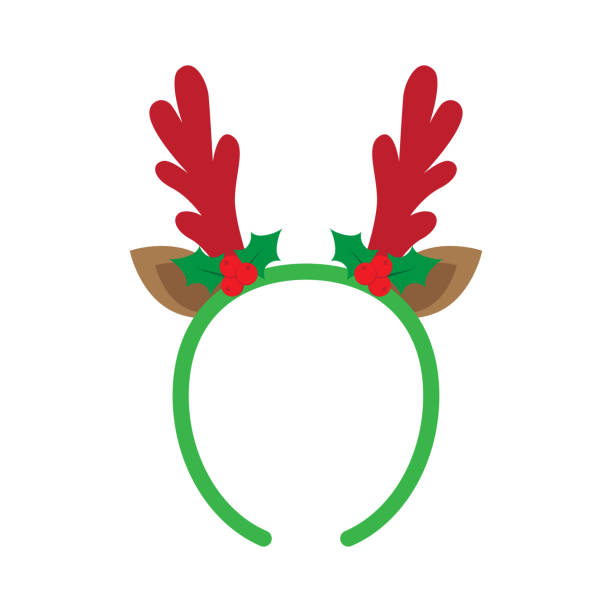 mask with reindeer antler mask with reindeer antler isolated on white background. Merry Christmas. vector illustration antler stock illustrations