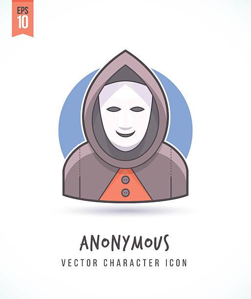 ilustraciones, imágenes clip art, dibujos animados e iconos de stock de masked anonymous man disguised hacker guy in a hood illustration - anonymous red activista