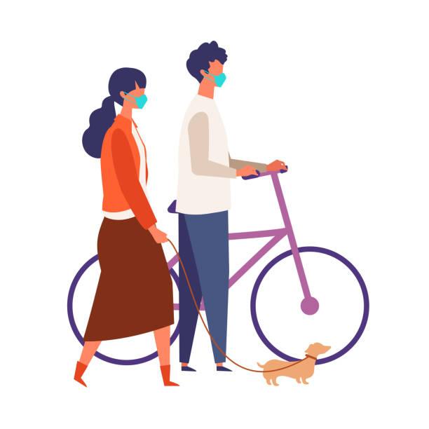 秋に歩く仮面付きのカップルのデート。男性と女性は新しい正常で休みを取っています。 - マスク 日本人点のイラスト素材/クリップアート素材/マンガ素材/アイコン素材