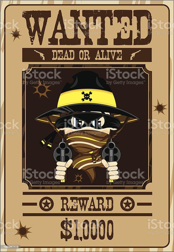 Masked Cowboy Gunslinger Wanted Poster royalty-free stock vector art