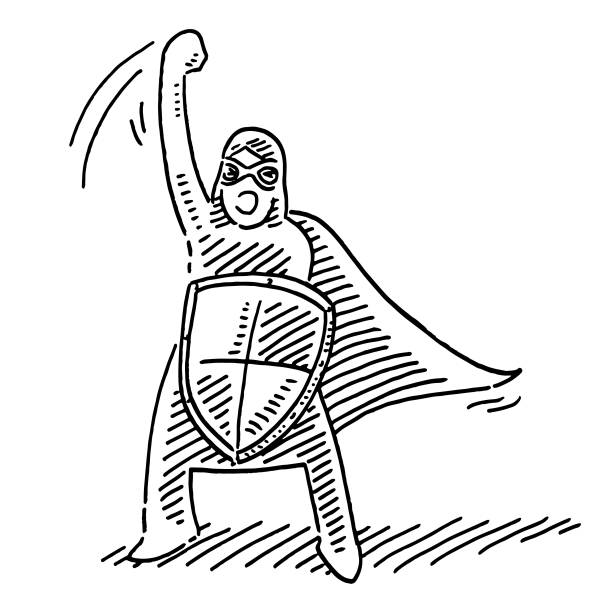 Masked Kid Superhero Shield Carnival Drawing Hand-drawn vector drawing of a Masked Kid as a Superhero with a Shield on Carnival. Black-and-White sketch on a transparent background (.eps-file). Included files are EPS (v10) and Hi-Res JPG. game stock illustrations