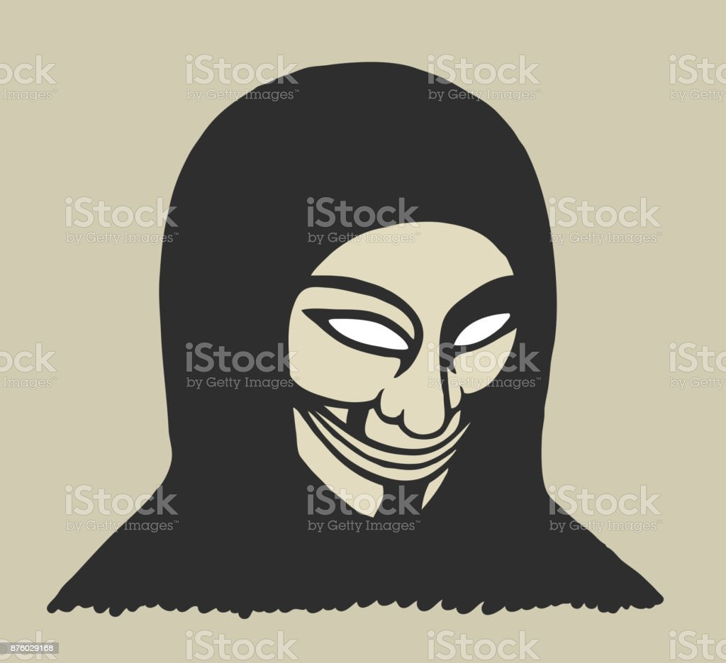 Masked man vector art illustration