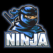 Masked ninja mascot, blue color