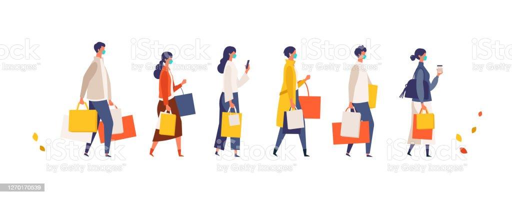 秋に買い物袋を持っている仮面の人々。新しい通常のライフスタイルに店舗、ショップ、モールで季節の販売に参加する男女。 - COVID-19のロイヤリティフリーベクトルアート