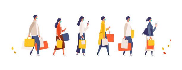 秋に買い物袋を持っている仮面の人々。新しい通常のライフスタイルに店舗、ショップ、モールで季節の販売に参加する男女。 - マスク 日本人点のイラスト素材/クリップアート素材/マンガ素材/アイコン素材