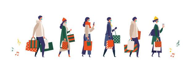 ilustraciones, imágenes clip art, dibujos animados e iconos de stock de gente enmascarada llevando bolsas de compras en navidad. hombre y mujer participando en la venta de temporada en tienda, tienda, centro comercial en el nuevo estilo de vida normal. - shopping