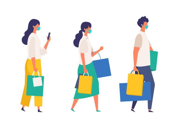 夏に買い物袋を持っている仮面の人々。新しい通常のライフスタイルに店舗、ショップ、モールで季節の販売に参加する男女。 - マスク 日本人点のイラスト素材/クリップアート素材/マンガ素材/アイコン素材
