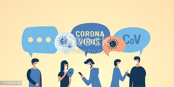 istock Masked people flat illustration. patients with coronovirus, colds, flu, pneumonia, cough. Health protection. respirator. medical masks 1213316739