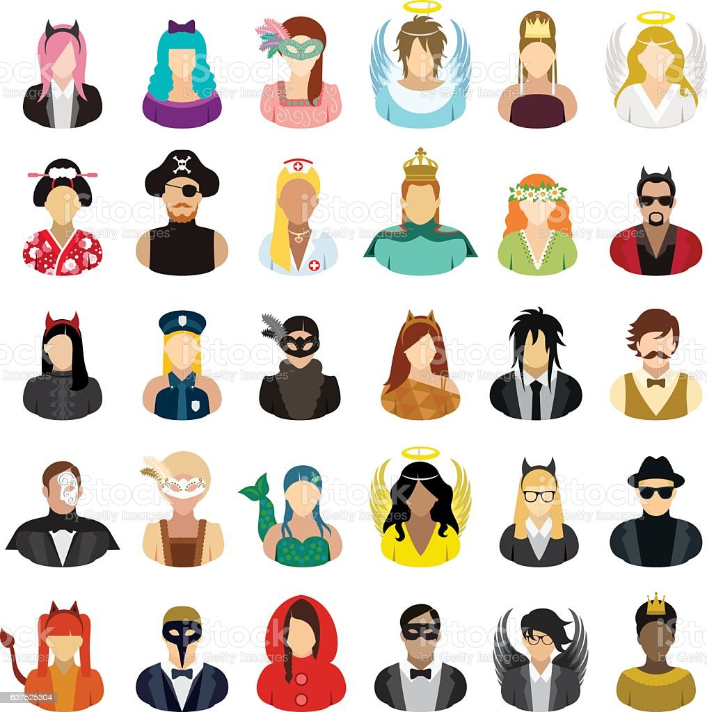 Masked people icons set. vector art illustration