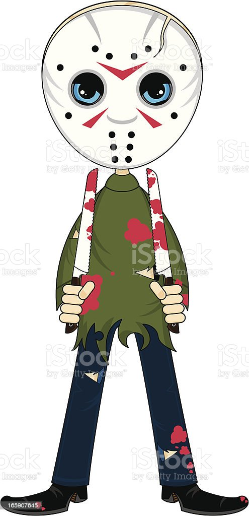 Masked Serial Killer with Knives royalty-free stock vector art
