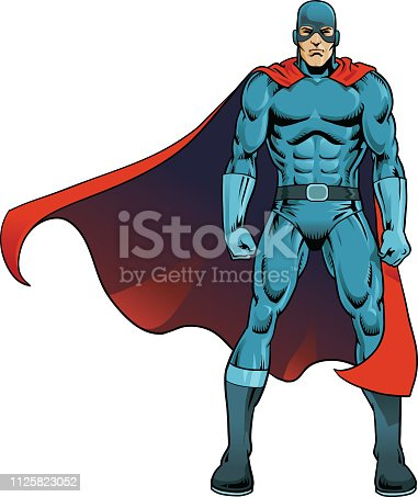 Superhero posing in battle pose