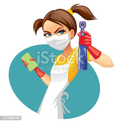 Masked woman wants to clean