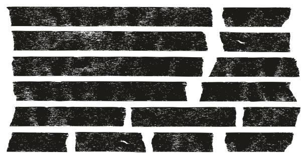 ilustrações de stock, clip art, desenhos animados e ícones de masking tape black grunge set 01 - fita adesiva