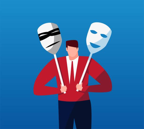 Máscaras y hombre de negocios - ilustración de arte vectorial