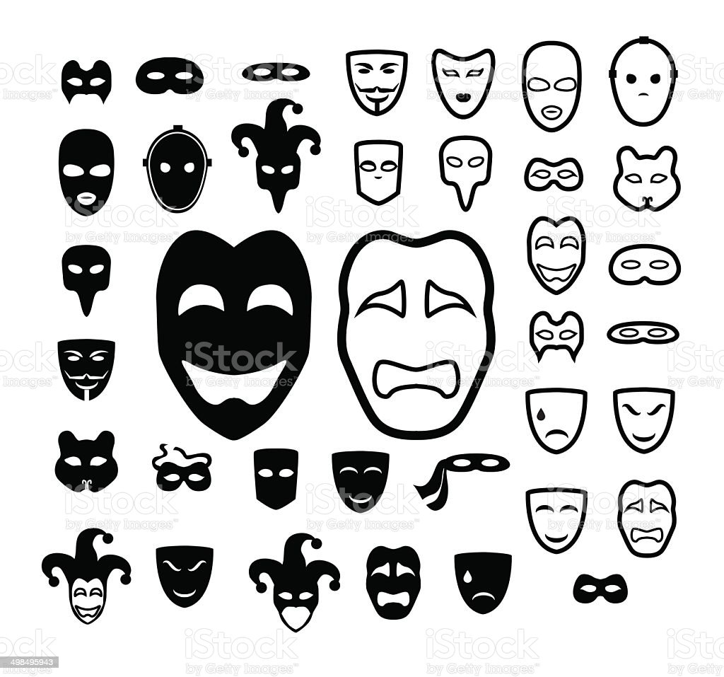 Masks and conspiracy icon set vector art illustration