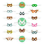 Masks animals cute, great design for any purposes. Cartoon collection with masks animals cute.   Holiday decoration. Carnival mask. Animal wildlife. Cartoon zoo. Isolated Vector illustration.