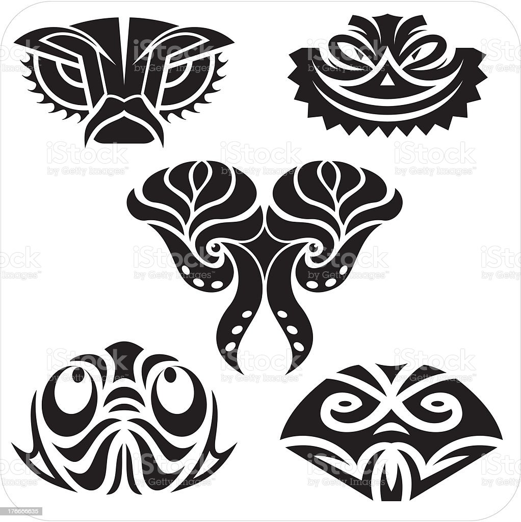 Masks in the North American style.  Vector set. royalty-free masks in the north american style vector set stock vector art & more images of abstract