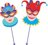 The vector image of two carnival masks.