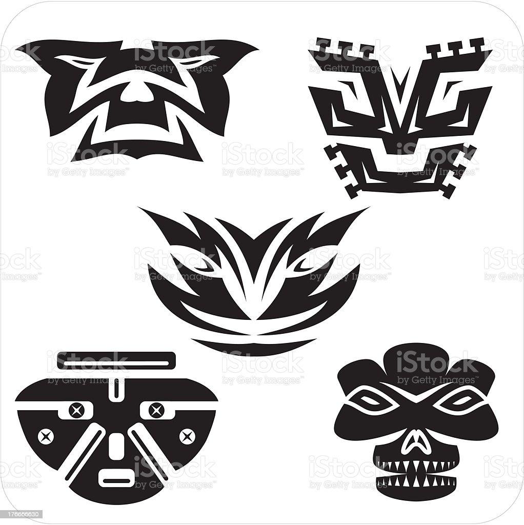 Masks - Vector set. royalty-free masks vector set stock vector art & more images of abstract