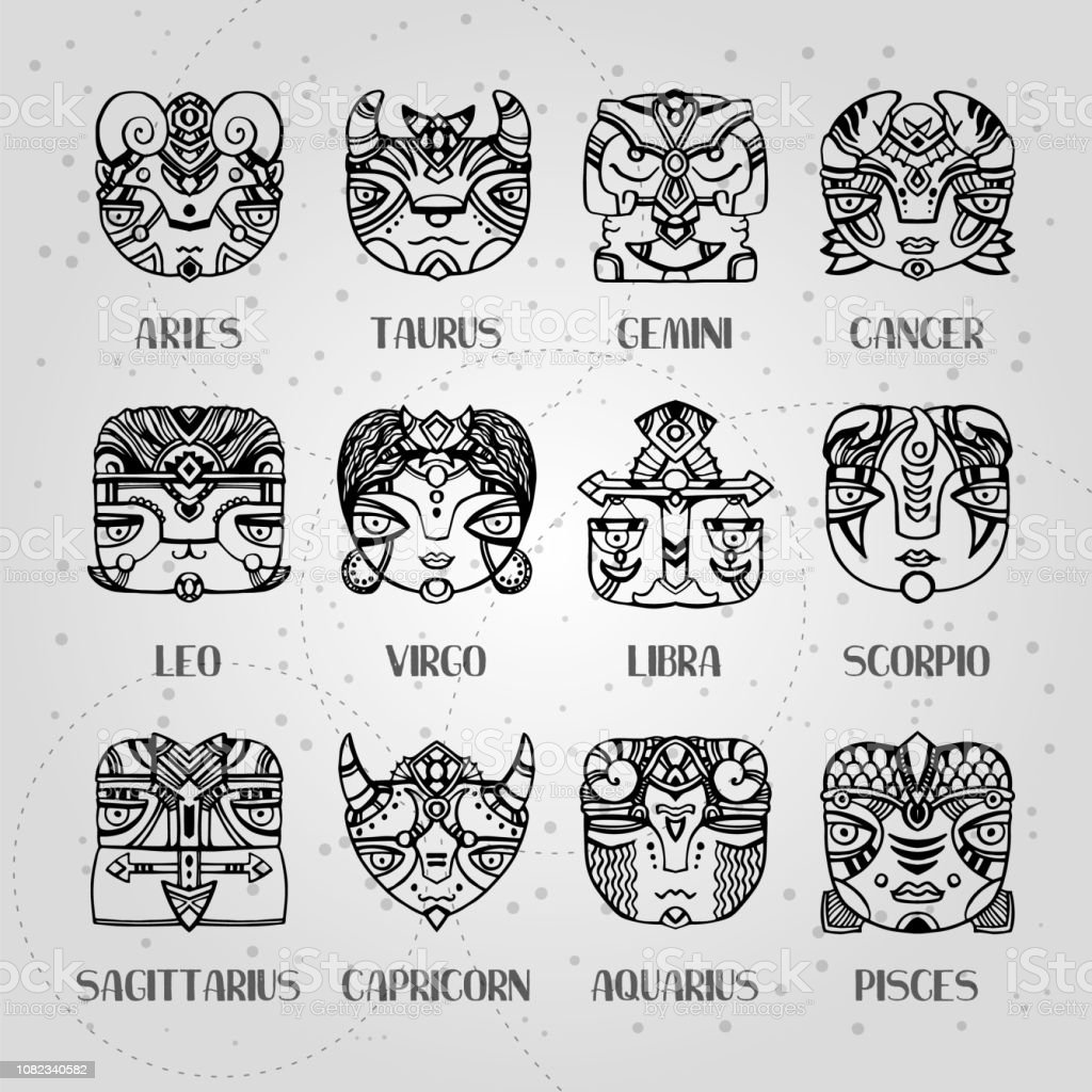 Masks Zodiac Signs Horoscope Faces Astrology Vector Illustration
