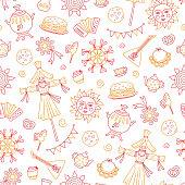 Maslenitsa. Pancake week elements - pancake, samovar, candy, balalaika, sun, scarecrow of winter, sour cream, accordion. Shrovetide. Vector seamless pattern on doodle style on white background