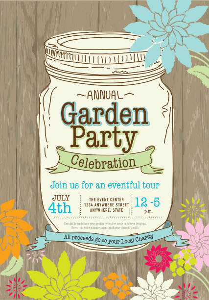 Mason canning jar spring Garden Party invitation design template vector art illustration