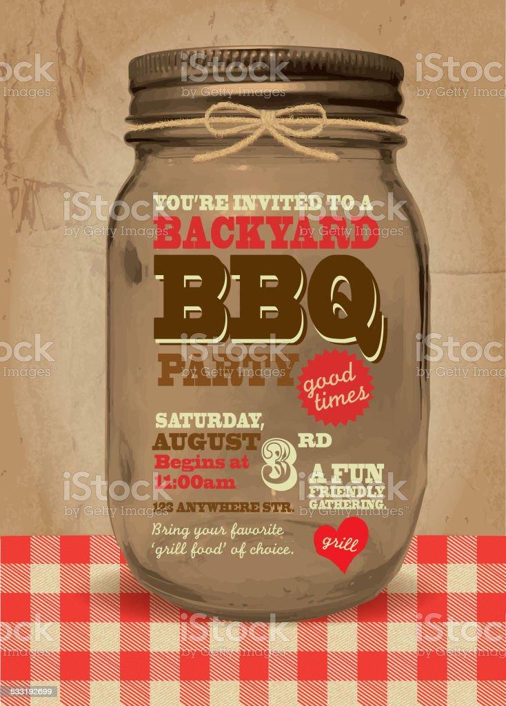 Mason Jar BBQ picnic invitation design template vector art illustration