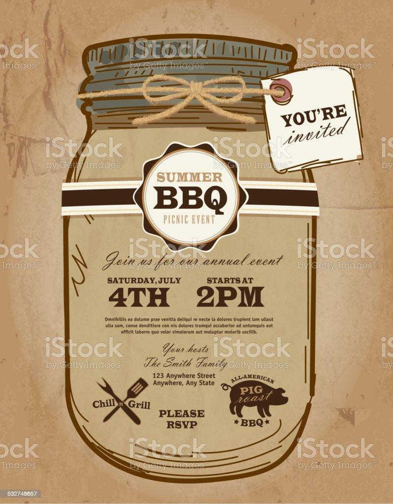 Mason Jar BBQ picnic invitation design template with invited tag vector art illustration