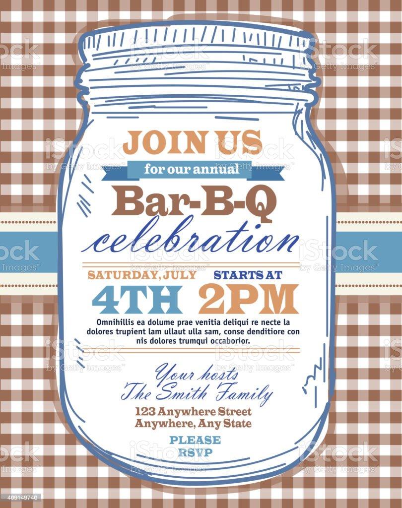 Mason Jar BBQ with brown tablecloth picnic invitation design template vector art illustration