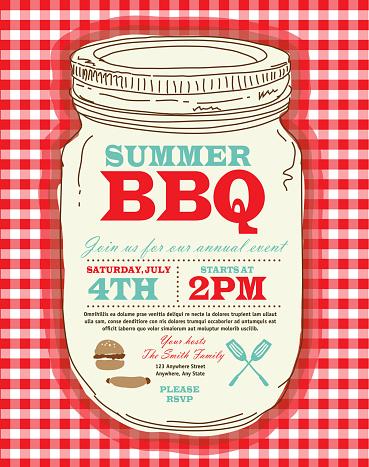 Mason Jar BBQ with checkered tablecloth picnic invitation design template