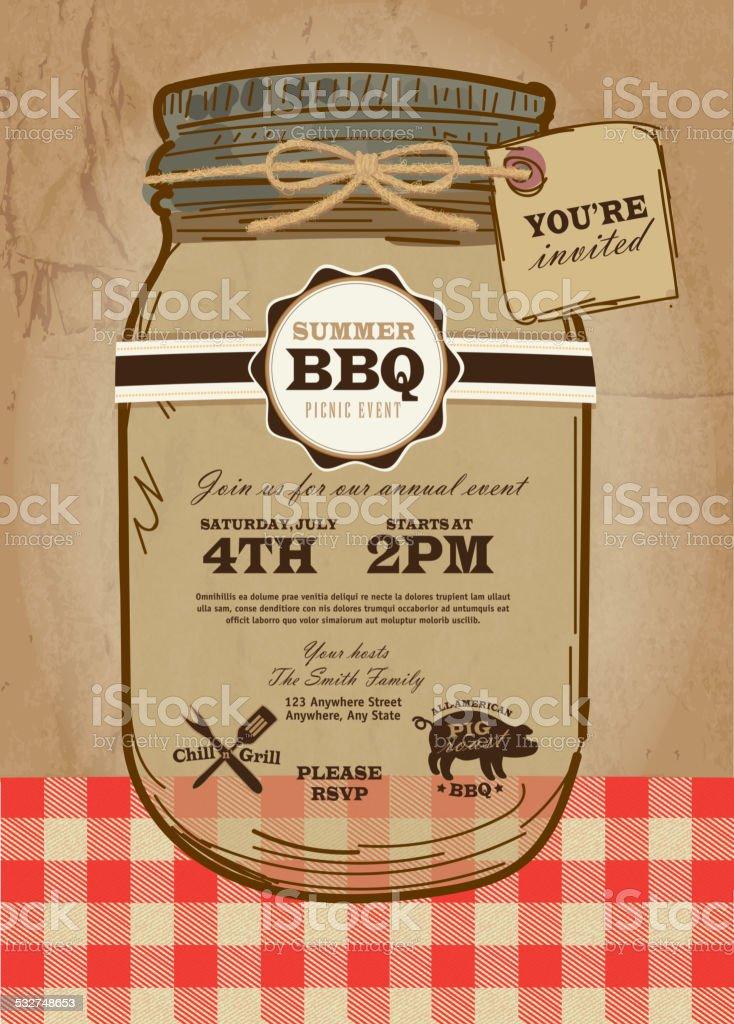 Mason Jar BBQ with checkered tablecloth picnic invitation invited tag vector art illustration