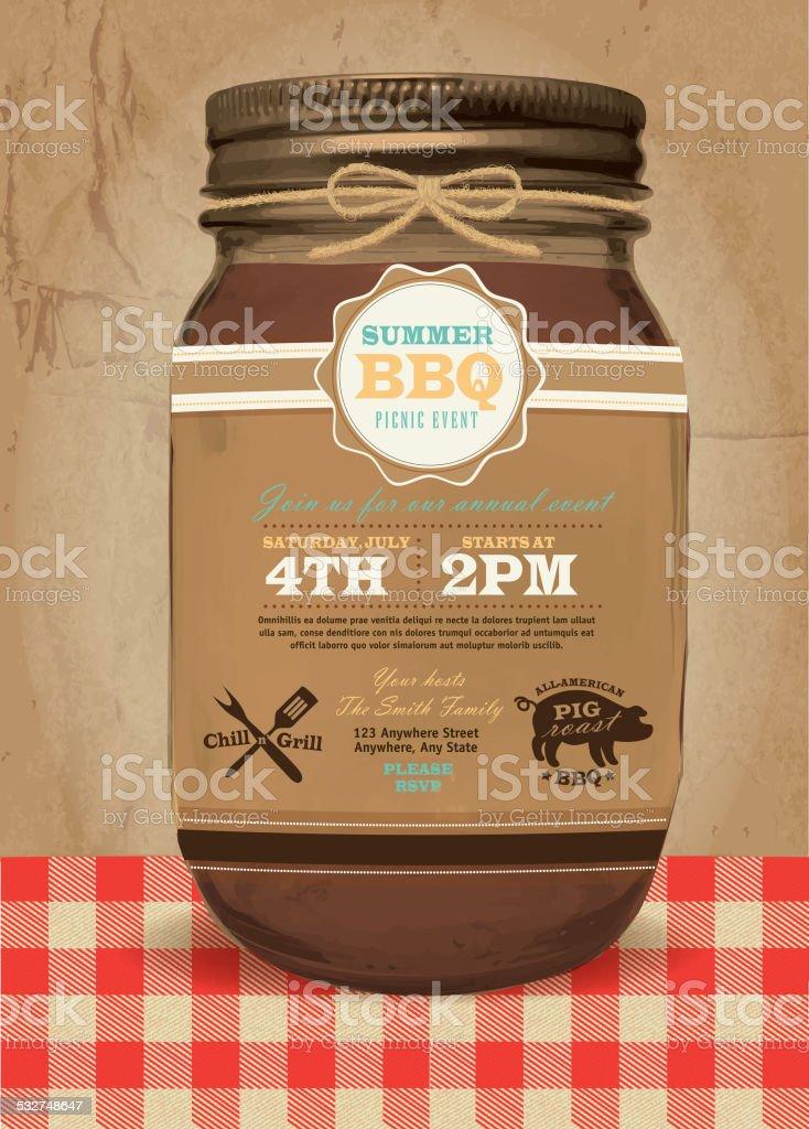 Mason Jar BBQ with checkered tablecloth picnic invitation summer bbq vector art illustration