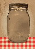 Mason Jar BBQ with checkered tablecloth