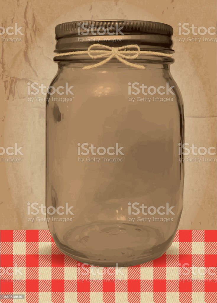 Mason Jar BBQ with checkered tablecloth vector art illustration