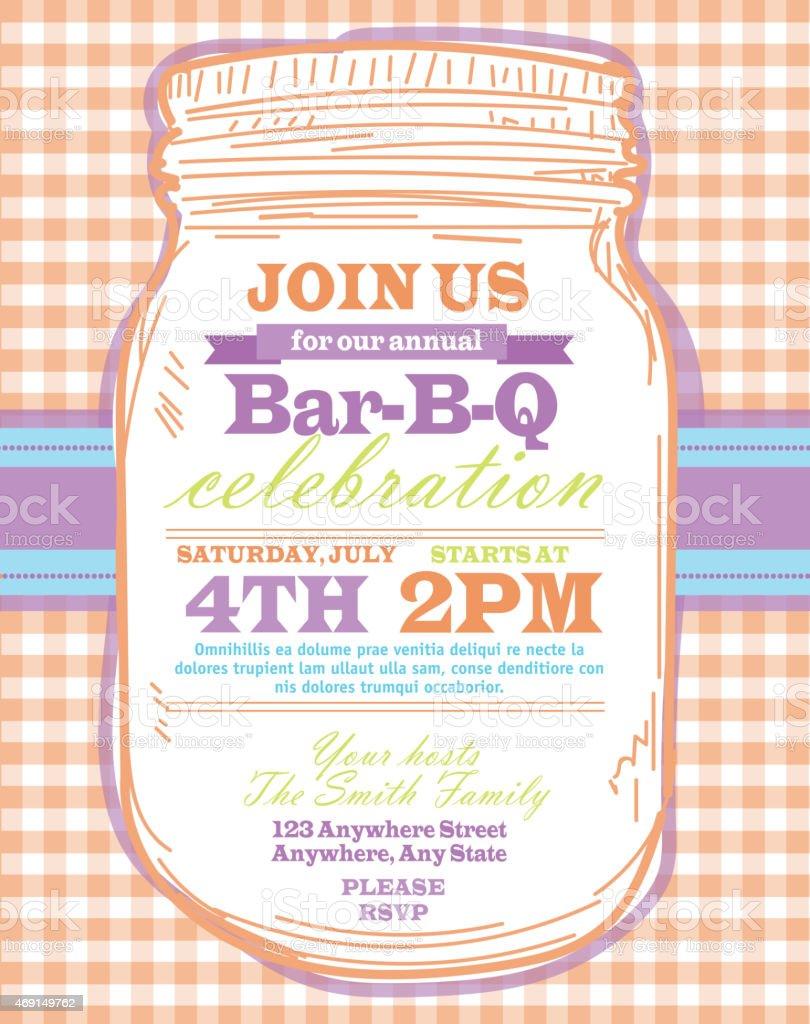 mason jar bbq with orange tablecloth picnic invitation design