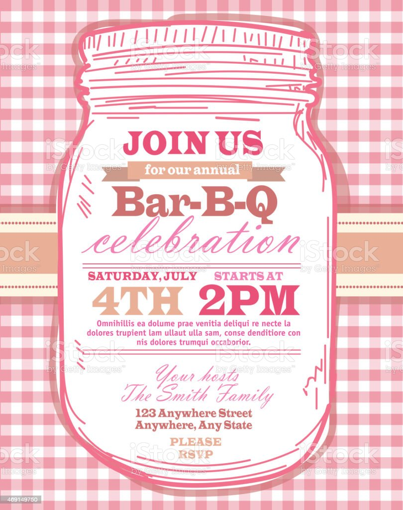 mason jar bbq with pink tablecloth picnic invitation design template
