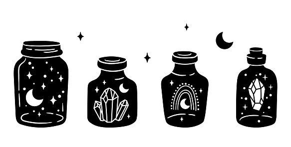 Mason jar clipart bundle, Celestial magic jar black and white glass bottles isolated items on white background, outline mystical bottle with rainbow, moon and stars, crystal, vector illustrations set