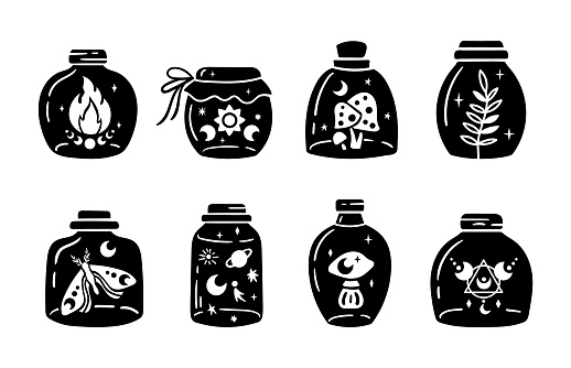 Mason jar clipart bundle, Celestial magic jar black and white glass bottles isolated items on white background, outline mystical bottle with mushroom, moon and stars, fire, vector illustrations set