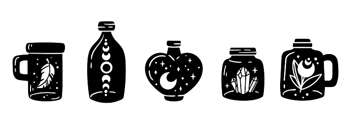 Mason jar clipart bundle, Celestial magic jar black and white glass bottles isolated items on white background, silhouette mystical bottle with moon and stars, crystal, vector illustrations set