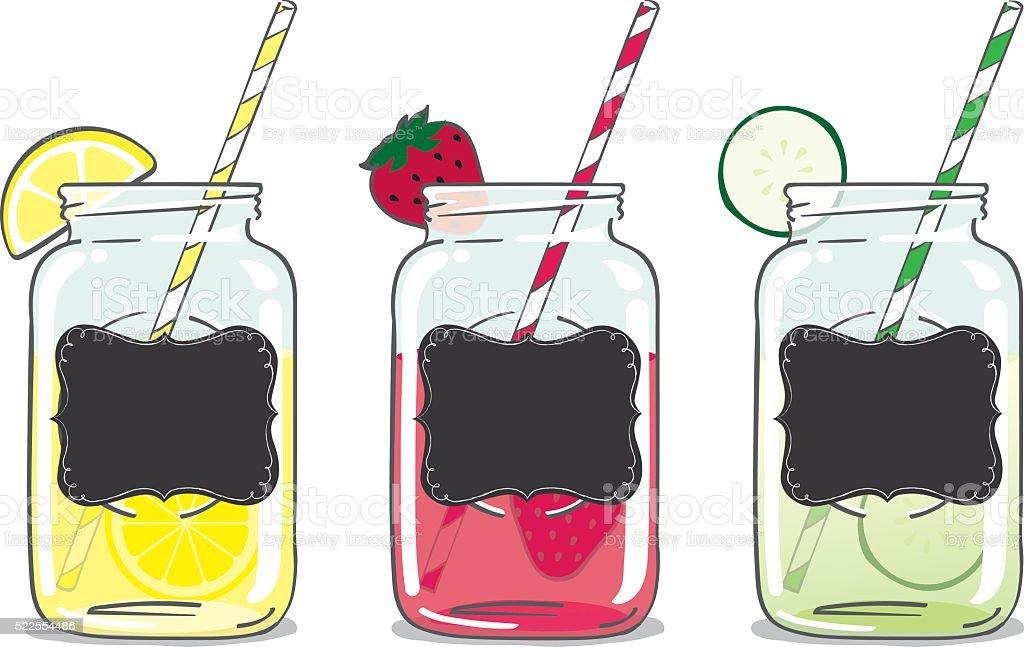 Mason Jar Drinks vector art illustration