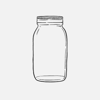 mason Jar hand drawn vector illustration isolated on white background