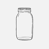 istock mason Jar hand drawn vector illustration isolated on white background 1252606417