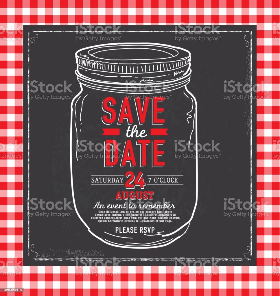 Mason Jar Save The Date Chalkboard Invitation Design Template stock ...