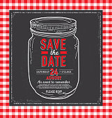 Mason Jar Save the date chalkboard invitation design template. Includes chalkboard  background, checkered tablecloth background. Red and white checkered. Sample text design. Easy layers for customizing.
