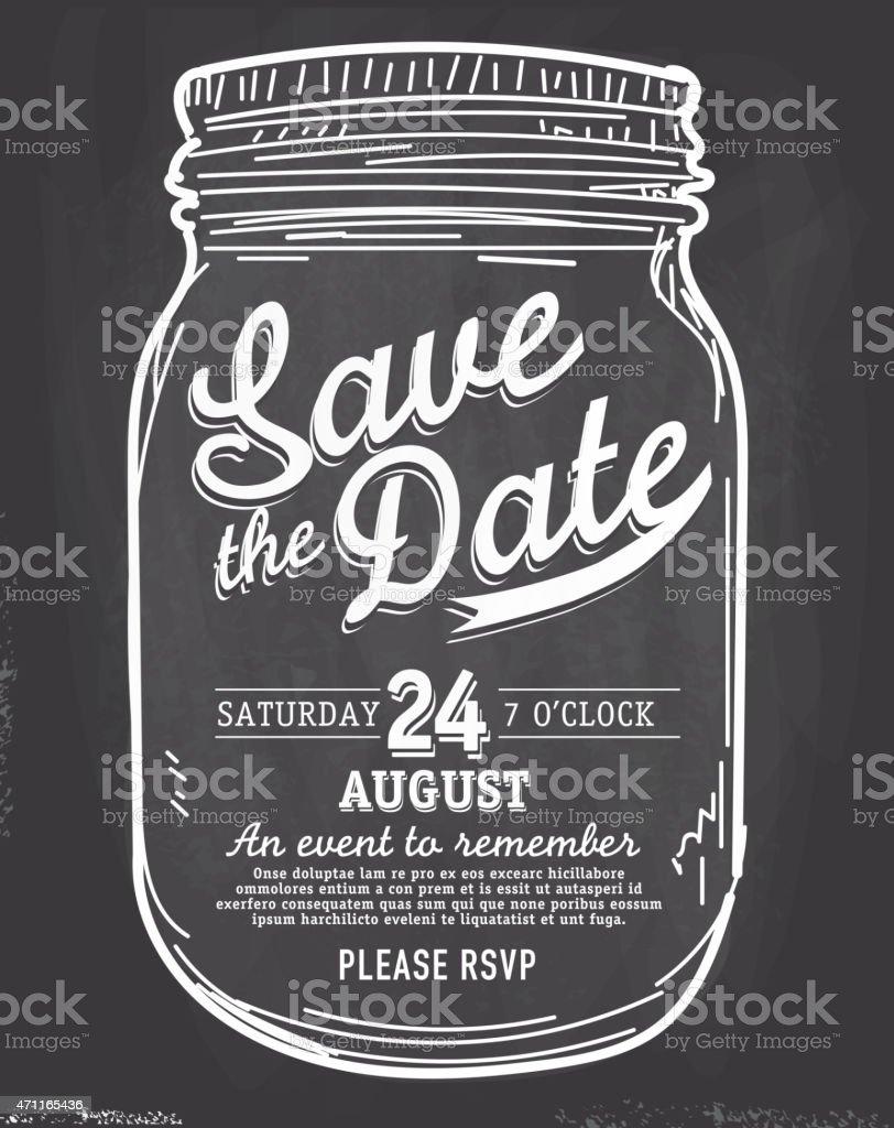 Mason Jar Save The Date Chalkboard Invitation Design Template Royalty Free
