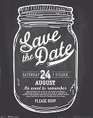Mason or canning Jar Save the date chalkboard invitation design template. Includes chalkboard  background. Sample text design. Country theme with hand drawn elements.  Perfect for summer barbecue event, picnic celebration, backyard bbq, private or corporate party, birthday party, fun family event gathering, potluck supper. Vector illustration. Sample text design. Easy layers for customizing.